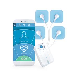 Electro-stimulateur connecté avec 3 modes : musculation, relaxation, soin Blanc