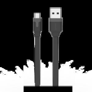 Câble plat reversible micro USB 2M 2.4A Noir