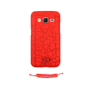 Coque fluo pour Galaxy Core Prime + bracelet Orange