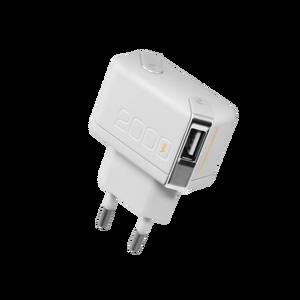 Chargeur de voyage double USB 2A + câble lightning Blanc