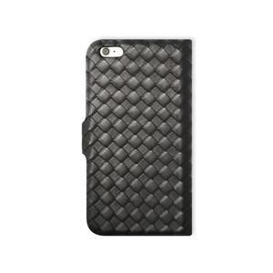 Etui folio cuir tressé pour iPhone 6 Plus Noir
