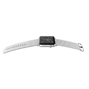 Bracelet luxe effet croco Blanc pour Apple Watch 38mm Blanc