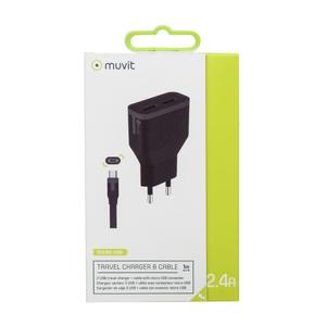 Pack chargeur secteur 2 ports USB 2A + câble micro USB reversible Noir