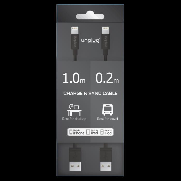 Unplug Deux câbles de charge et synchronisation lightning MFI 0.2M et 1M Noir