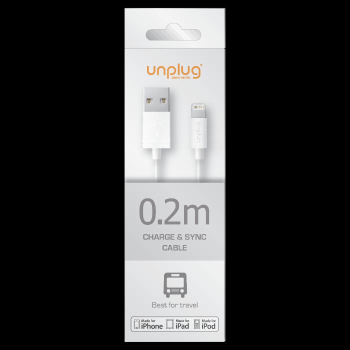Unplug Câble de charge et synchronisation lightning MFI 0.2M Blanc