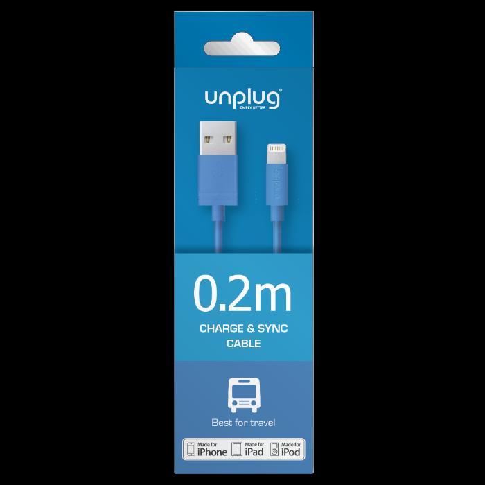 Unplug Câble de charge et synchronisation lightning MFI 0.2M Bleu