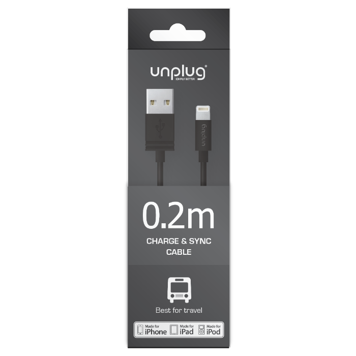 Unplug Câble de charge et synchronisation lightning MFI 0.2M Noir