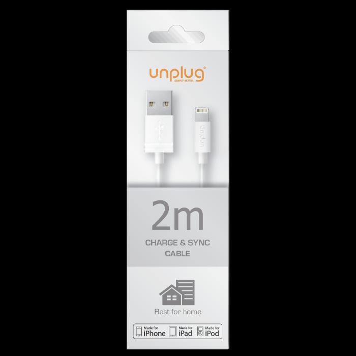Unplug Câble de charge et synchronisation lightning MFI 2M Blanc