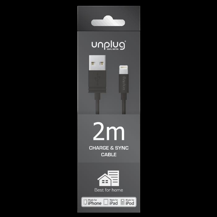 Unplug Câble de charge et synchronisation lightning MFI 2M Noir