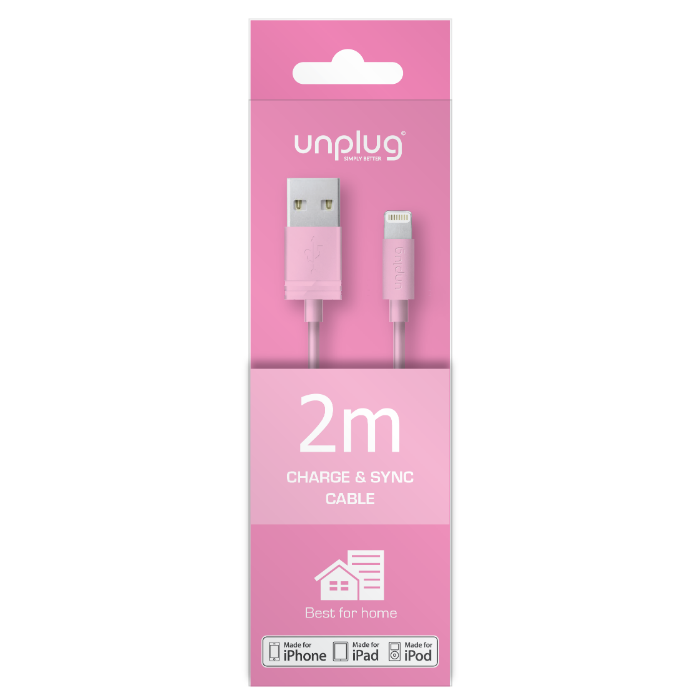 Unplug Câble de charge et synchronisation lightning MFI 2M Rose