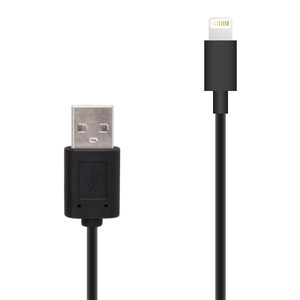 Câble droit 1M de charge & sync lightning MFI Noir