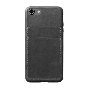 Coque porte-carte en cuir pour iPhone 7 Gris
