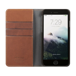 Etui folio en cuir pour iPhone 7 Marron