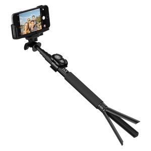 Perche selfie bluetooth avec télécommande et trépied Noir