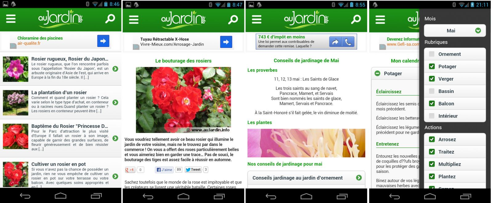 Application jardinage Au Jardin