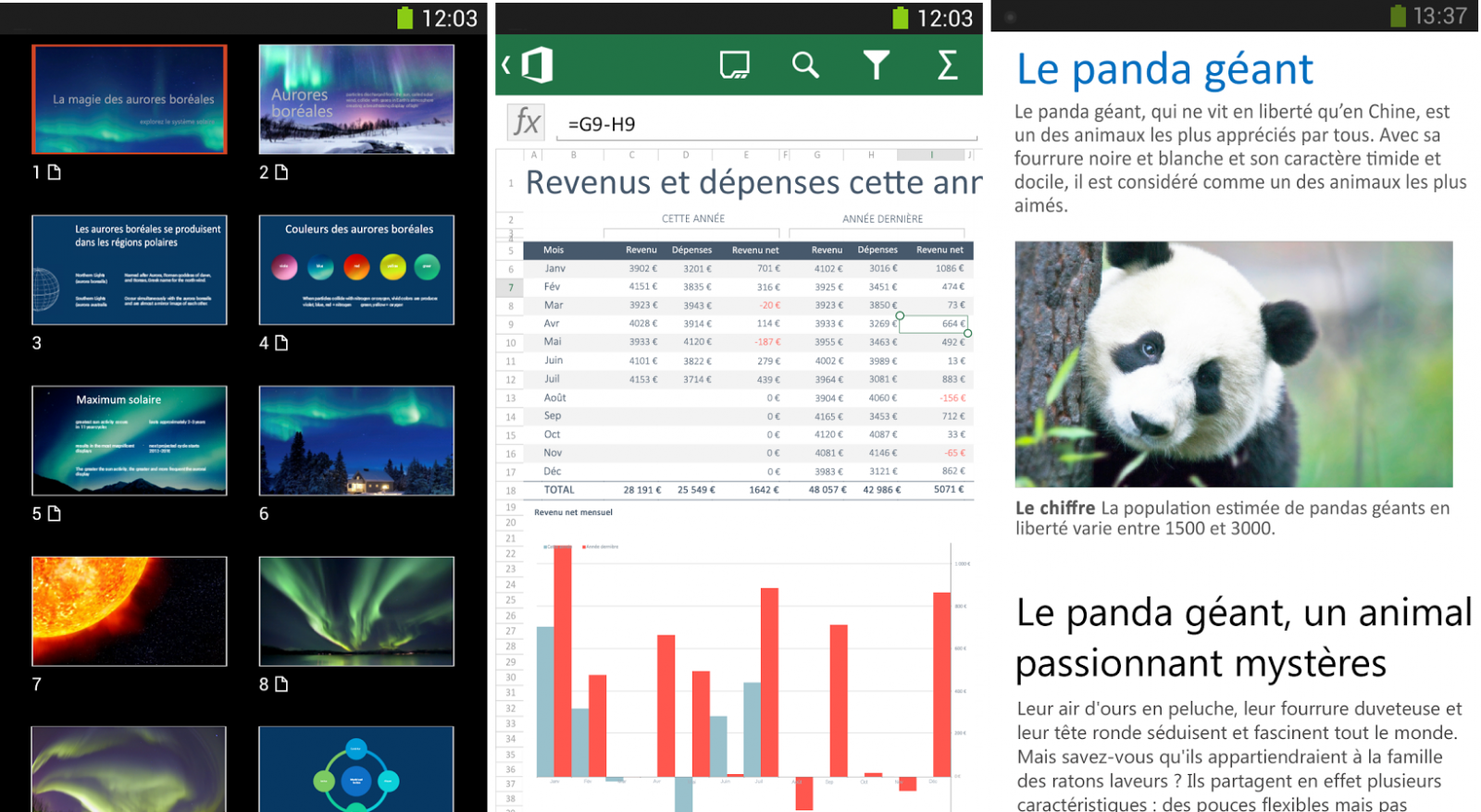 Application Microsoft Office sur Android