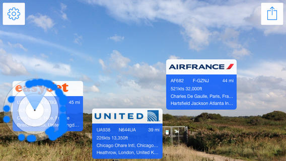 Application réalité augmentée Plane Finder