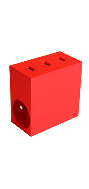 Multiprise Hide 2 prises + 3 ports USB 4.4A Rouge